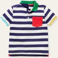 Pique Polo Shirt Starboard Blue/Ivory Boden, Starboard Blue/Ivory