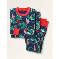 Cosy Long John Pyjamas College Navy Dragon Boden, College Navy Dragon