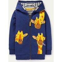 Animal Zip-up Hoodie Starboard Blue Giraffes Boden, Starboard Blue Giraffes