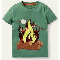 Sequin Outdoor T-shirt Rosemary Green Fire Boys Boden, Rosemary Green Fire