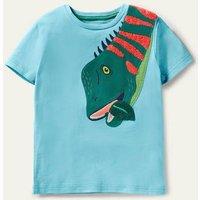 Bright Animal Applique T-shirt Aqua Blue Dino Boden, Aqua Blue Dino