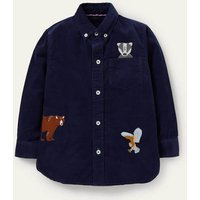 Embroidered Cord Shirt College Navy Animals Boys Boden, College Navy Animals