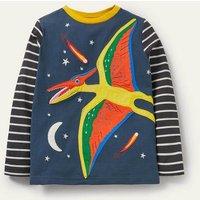 Wrap-around Appliqué T-shirt Stormy Blue Pterodactyl Boden, Stormy Blue Pterodactyl