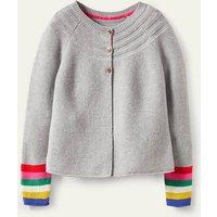 Cotton Cashmere Mix Cardigan Grey Marl Rainbow Boden, Grey Marl Rainbow