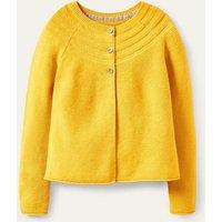 Cotton Cashmere Mix Cardigan Honeycomb Yellow Boden, Honeycomb Yellow