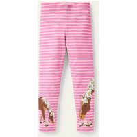 Fun Appliqué Leggings Bright Petal Pink/Ivory Horses Boden, Bright Petal Pink/Ivory Horses