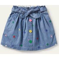 Tie Waist Embroidered Skirt Mid Vintage Denim Star Girls Boden, Mid Vintage Denim Star