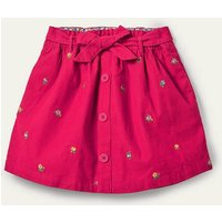 Tie Waist Embroidered Skirt Rose Petal Red Floral Cord Girls Boden, Rose Petal Red Floral Cord