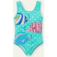 Fun Applique Swimsuit Green/ Ivory Spot Fish Boden, Green/ Ivory Spot Fish