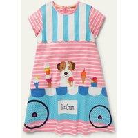 Fun Big Applique Dress Pink Lemonade/ Ivory Sprout Girls Boden, Pink Lemonade/ Ivory Sprout