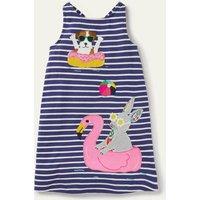 Applique Jersey Dress Starboard Blue/ Ivory Bunny Boden, Starboard Blue/ Ivory Bunny