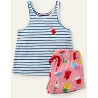 Fun Pocket Pyjama Set Pink Lemonade Ice Cream Spot Girls Boden, Pink Lemonade Ice Cream Spot