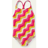 Cross-back Printed Swimsuit Party Pink Wave Baby Boden, Party Pink Wave