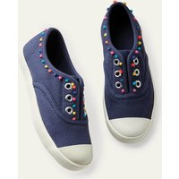 Laceless Canvas Pull-ons College Navy Boden, College Navy