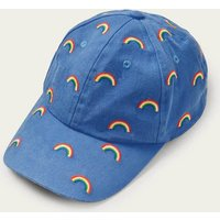 Embroidered Rainbow Cap Elizabethan Blue Rainbow Boden, Elizabethan Blue Rainbow.