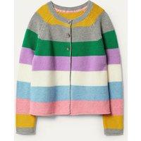 Cotton Cashmere Mix Cardigan Multi Stripe Boden, Multi Stripe