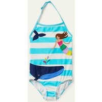 Applique Swimsuit Light Blue/ Ivory Mermaid Girls Boden, Light Blue/ Ivory Mermaid