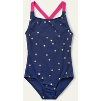 Cross-back Swimsuit Deep Sea Blue Gold Spot Boden, Deep Sea Blue Gold Spot.