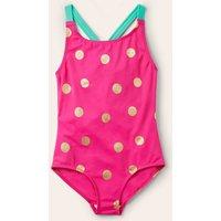 Cross-back Swimsuit Fuchsia Pink Gold Spot Boden, Fuchsia Pink Gold Spot