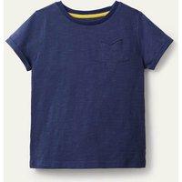 Star Pocket Slub T-shirt Starboard Blue Girls Boden, Starboard Blue
