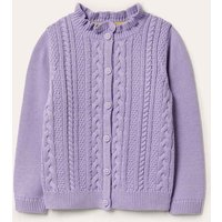 Cable Knit Cardigan Cool Violet Purple Girls Boden, Cool Violet Purple