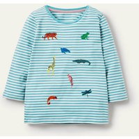 Embroidered Stripy T-shirt Ivory/ Aqua Blue Animals Boden, Ivory/ Aqua Blue Animals