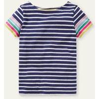 Short-sleeved Breton Navy/ Ivory Rainbow Cuff Boden, Navy/ Ivory Rainbow Cuff