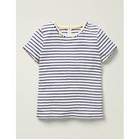 Charlie Pom Jersey T-shirt Indigo Navy/Ivory Boden, Indigo Navy/Ivory
