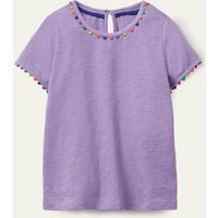 Charlie Pom Jersey T-shirt Cool Violet Purple Boden, Cool Violet Purple