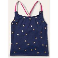 Patterned Tankini Top Harmony Blue Gold Spot Girls Boden, Harmony Blue Gold Spot.