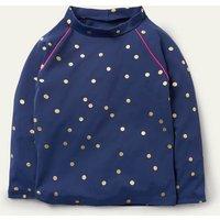 Long-sleeved Rash Vest Harmony Blue Gold Spot Girls Boden, Harmony Blue Gold Spot.