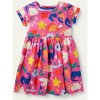 Fun Jersey Dress Tickled Pink Happy Dino Boden, Tickled Pink Happy Dino