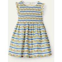 Smocked Woven Dress Multi Floral Stripe Baby Boden, Multi Floral Stripe