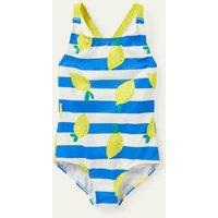 Cross-back Swimsuit Ivory/ Moroccan Blue Lemons Boden, Ivory/ Moroccan Blue Lemons.