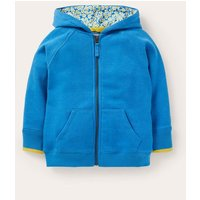 Floral Print Lined Hoodie Moroccan Blue Marl Girls Boden, Moroccan Blue Marl