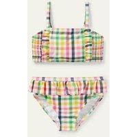 Nostalgic Smocked Bikini Multi Rainbow Gingham Boden, Multi Rainbow Gingham