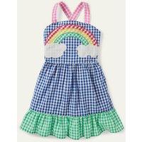 Gingham Woven Sun Dress Multi Rainbow Scene Girls Boden, Multi Rainbow Scene