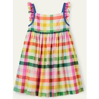 Frill Strap Dress Multi Rainbow Gingham Boden, Multi Rainbow Gingham