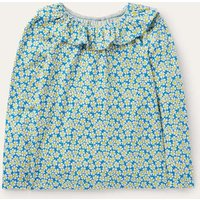 Ruffle Neck Jersey Top Moroccan Blue Daisybed Girls Boden, Moroccan Blue Daisybed
