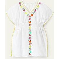 Fruit Embroidered Kaftan White Girls Boden, White