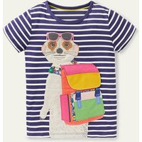 Explorer Lift-the-flap T-shirt Starboard Blue/ Ivory Meerkat Boden, Starboard Blue/ Ivory Meerkat