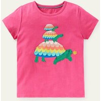 Charming Appliqu © T-shirt Party Pink Turtle Boden, Party Pink Turtle.