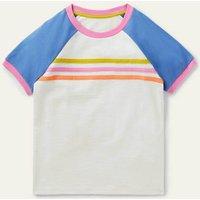Raglan Slub T-shirt Ivory Girls Boden, Ivory