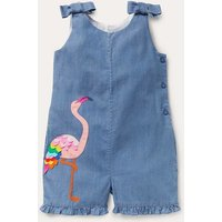 Tie Shoulder Frill Playsuit Chambray Flamingo Boden, Chambray Flamingo.