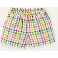 Scallop Detailed Shorts Multi Rainbow Gingham Boden, Multi Rainbow Gingham