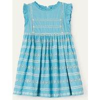 Broderie Dress Aqua Blue Girls Boden, Aqua Blue.