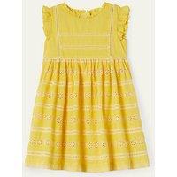 Broderie Dress Sweetcorn Yellow Girls Boden, Sweetcorn Yellow.