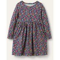 Long Sleeve Fun Jersey Dress Starboard Autumn Berry Floral Boden, Starboard Autumn Berry Floral