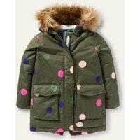 Cosy Waterproof Coat Khaki Green Multi Spot Boden, Khaki Green Multi Spot