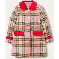 Colourful Wool Coat Pink Blanket Check Girls Boden, Pink Blanket Check